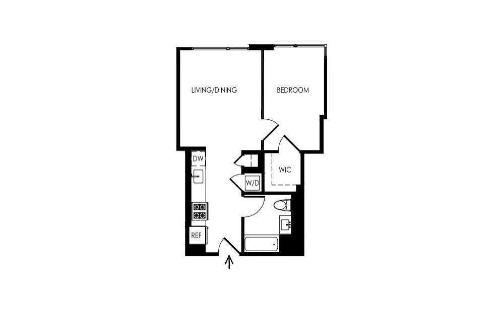 3JS-6JS - 1 bedroom floorplan layout with 1 bath and 571 square feet.