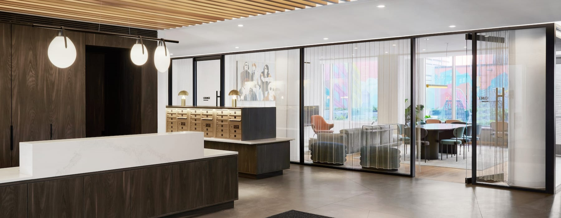 spacious lobby with seating and modern design